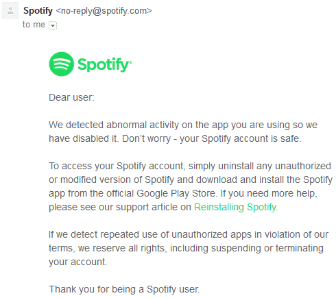 Spotify Warning Email